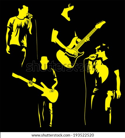 Vector illustration of  silhouette music band - stock vector