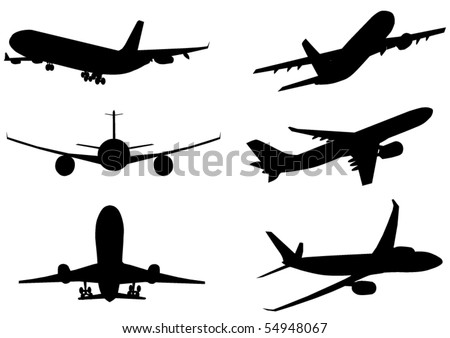 Vector illustration of silhouette of airplanes airbus or plane - stock vector