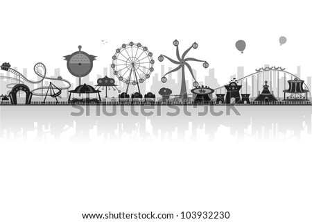 vector illustration of silhouette of amusement park - stock vector
