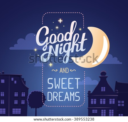 Vector illustration of silhouette of night city street on dark blue sky background with wish and big moon. Art design for web, site, advertising, banner, poster, flyer, brochure, board, card, print - stock vector