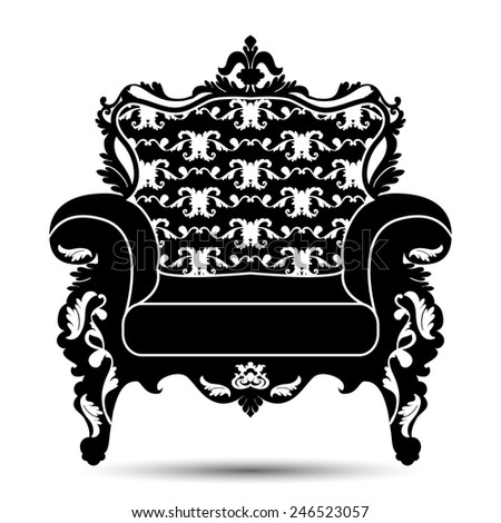 Vector illustration of silhouette of retro armchair in baroque style isolated on white background