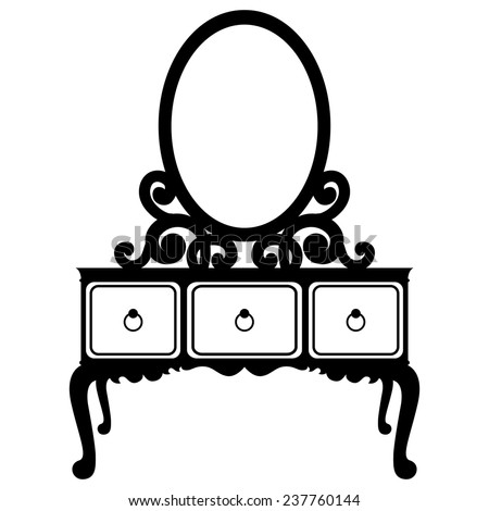 Vector illustration of silhouette of retro dressing console and mirror in baroque style isolated on a white background - stock vector