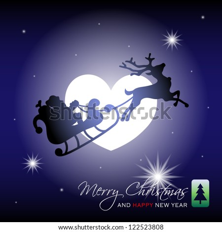 vector illustration of silhouette of Santa Claus with sleigh and reindeer on background of moon in the form of heart - stock vector