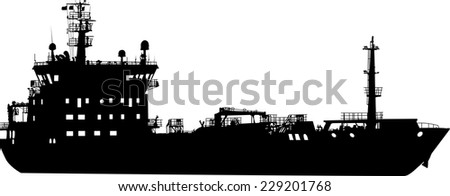 Vector illustration of silhouette of the sea cargo ship - stock vector