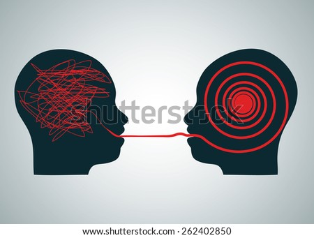 Vector illustration of 2 silhouette profile heads face to face, one with scribbling and second with accurate right red maze labyrinth. Talking decoding and understanding process problem concept symbol - stock vector