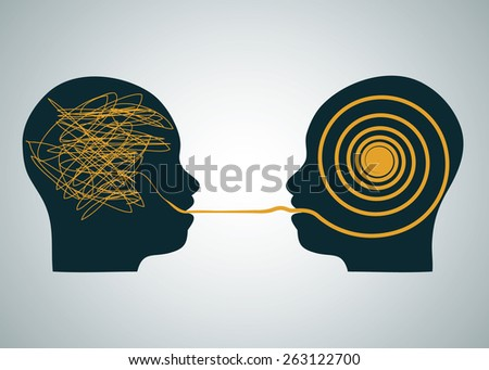Vector illustration of 2 silhouette profile heads face to face, one with scribbling and second with accurate right maze, labyrinth. Talking, decoding and understanding process problems concept, symbol - stock vector