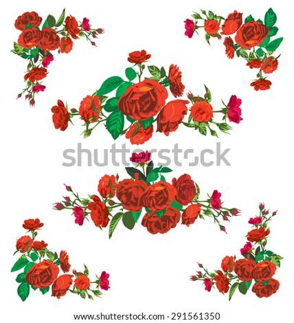 Vector Illustration Of Silhouette Rose Borderframe And Corner Design