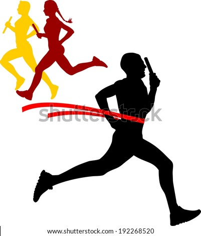 Vector illustration of silhouette�s sportsmen relay running sprinting on white background - stock vector