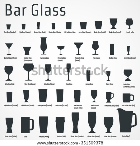 Vector Illustration of silhouette Set of Bar Glass  for Design, Website, Background, Banner. Restaurant Element Isolated Template for Menu. Vodka, Beer, Whiskey, Wine for Infographic