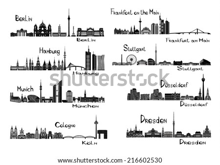 Vector illustration of silhouettes of 8 cities of Germany - Berlin, Frankfort on the Main, Hamburg, Stuttgart, Dusseldorf, Munich, Dresden, Cologne