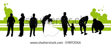 Vector illustration of silhouettes of people with green stripes and green circular.