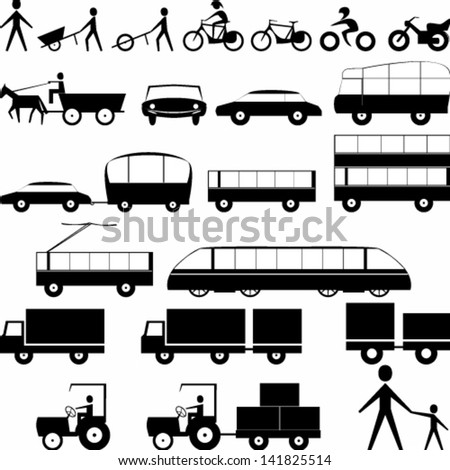 Vector illustration of silhouettes of transportation icons - stock vector