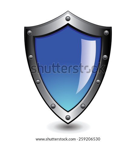 Vector illustration of silver blue glossy shield : Protection concept.  - stock vector