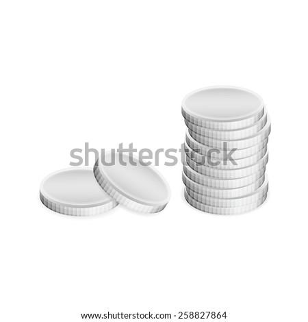 Vector illustration of silver coins, separate and in stack, isolated on white background. - stock vector
