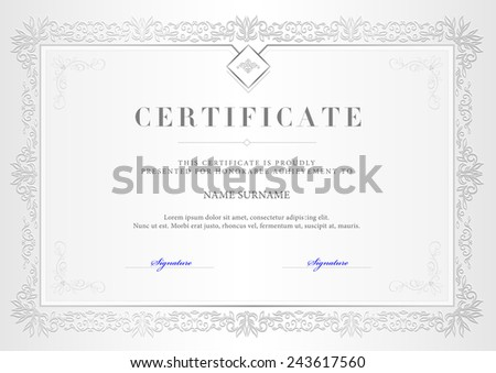 Vector illustration of silver detailed certificate - stock vector