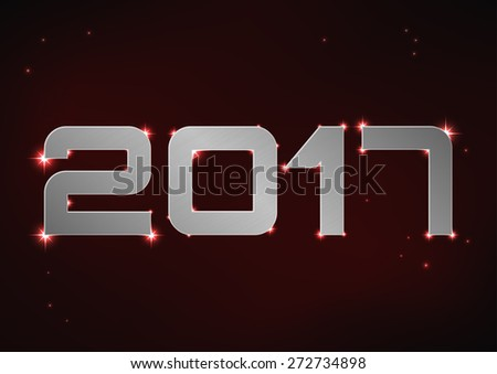 Vector illustration of silver metallic number 2017 over red night sky - stock vector