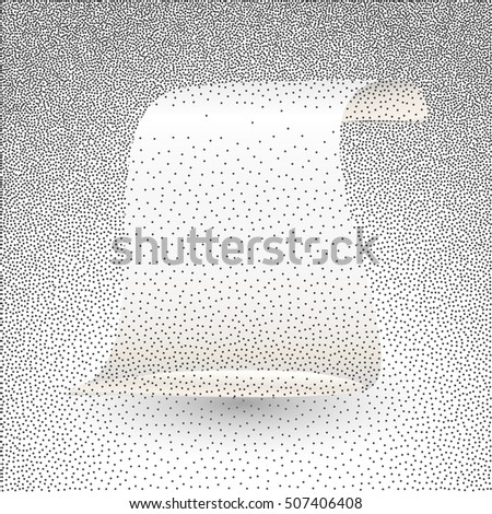 Vector illustration of silver paper scroll. Roll of stippled paper, imitation of dotted effect.