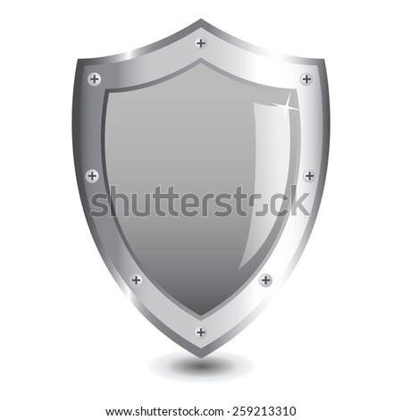 Vector illustration of silver shield : Powefull concept.  - stock vector