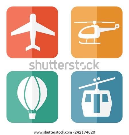 Vector illustration of simple airline service transport related icons - stock vector