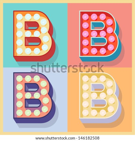 Vector illustration of simple and clear flat lamp alphabet. Letter b - stock vector