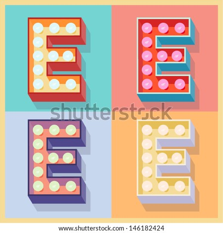 Vector illustration of simple and clear flat lamp alphabet. Letter e - stock vector