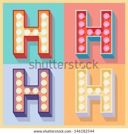 Vector illustration of simple and clear flat lamp alphabet. Letter h - stock vector