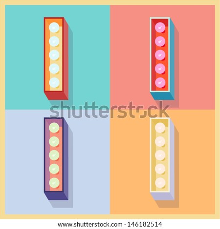 Vector illustration of simple and clear flat lamp alphabet. Letter i - stock vector