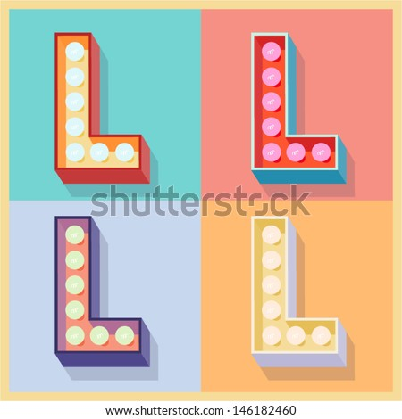 Vector illustration of simple and clear flat lamp alphabet. Letter l - stock vector