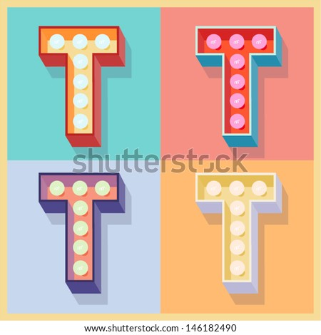 Vector illustration of simple and clear flat lamp alphabet. Letter t - stock vector