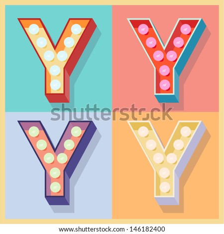 Vector illustration of simple and clear flat lamp alphabet. Letter y - stock vector