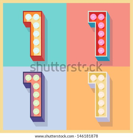 Vector illustration of simple and clear flat lamp alphabet. Number 1 - stock vector