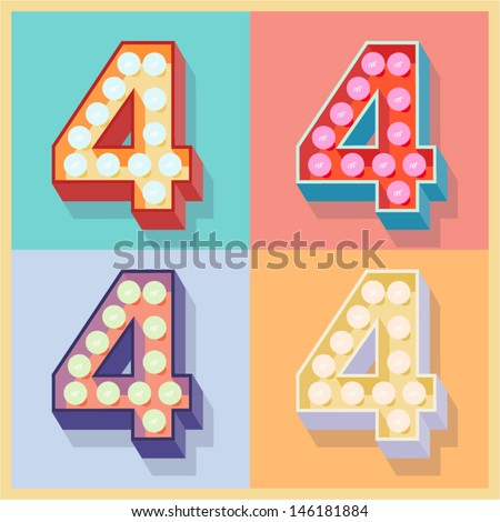 Vector illustration of simple and clear flat lamp alphabet. Number 4 - stock vector