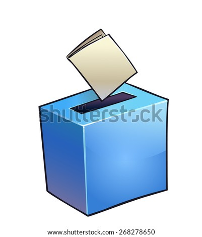 Vector illustration of simple blue vote box.  - stock vector