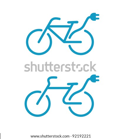 Vector illustration of Simple Electric bicycle icon - stock vector