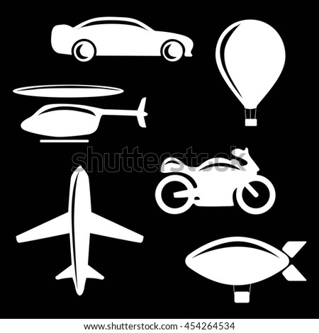 Vector illustration of simple monochromatic vehicle and transport related icons. Car, motorcycle, airplane, helicopter, dirigible. Flat vector stock illustration - stock vector