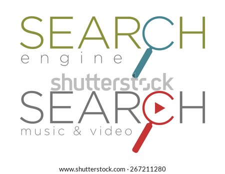 Vector illustration of simple search engine icons - stock vector