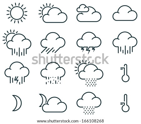 Vector illustration of simple weather icons - stock vector