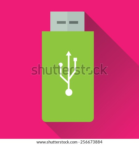 Vector illustration of single green USB Flash Drive flat icon in pink square background with diagonal shadow - stock vector