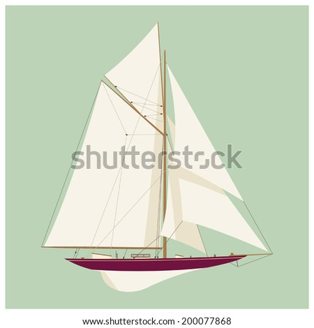 Vector illustration of single-masted sailing classic yacht on plain color background - stock vector