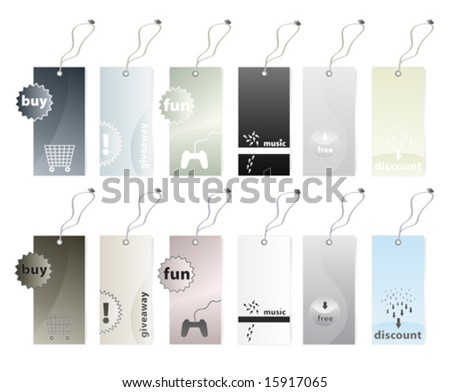 Vector illustration of six different shopping tags in earth tones color variations in two versions. 12 tags in all. - stock vector