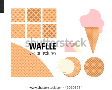 Vector illustration of six seamless waffle patterns and red fruit ice cream scoop in a waffle cone, pink flat ribbon and two round Belgian wafers