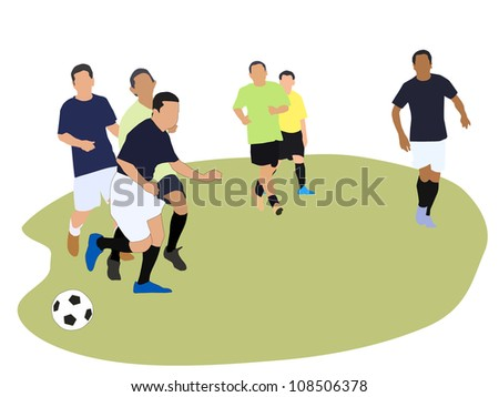 Vector illustration of six soccer players in action - stock vector