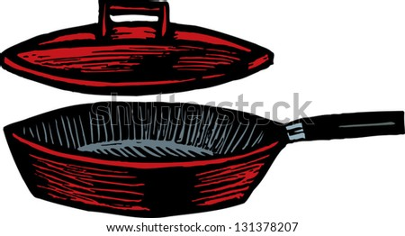 Vector illustration of skillet with lid