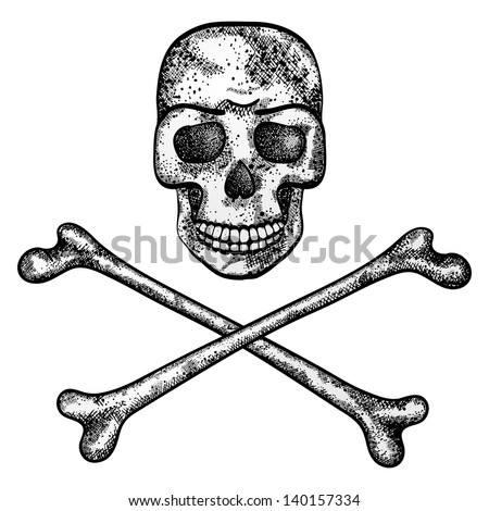 Vector illustration of skull and crossbones isolated on white background. EPS 10. - stock vector