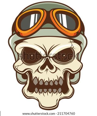 Vector illustration of Skull wearing helmet - stock vector