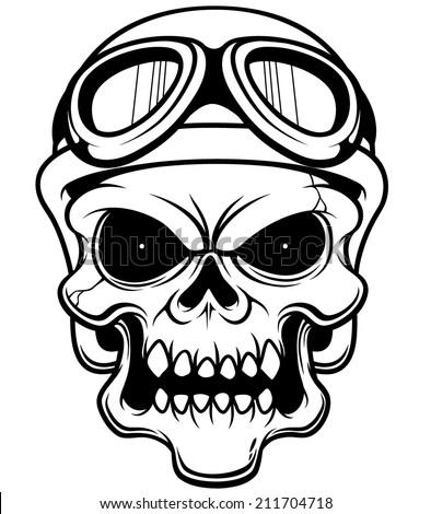 Vector illustration of Skull wearing helmet - Outline - stock vector