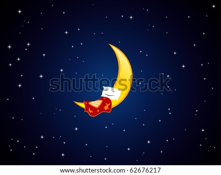 Vector illustration of sleeping pillow on the crescent - stock vector