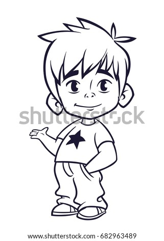 Vector illustration of small boy outlines cartoon of a young boy dressed up in a