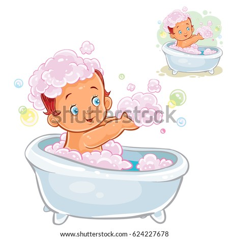 Vector illustration of small child take a bath with foam isolated on white. Happy Baby Girl Baby Boy Bath Stock Vector 551599195   Shutterstock
