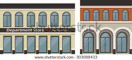 Vector illustration of small city buildings that can be put together with other sets.